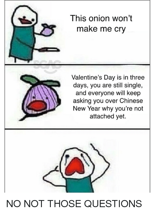 Memes, New Year's, and Valentine's Day: This onion won't  make me cry  Valentine's Day is in three  days, you are still single,  and everyone will keep  asking you over Chinese  New Year why you're not  attached yet. NO NOT THOSE QUESTIONS