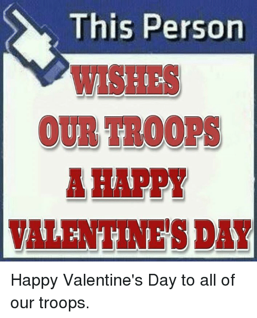 Memes, 🤖, and Troop: This Person  OUR TROOPS  A HAPPY  VALENTINE'S DAY Happy Valentine's Day to all of our troops.