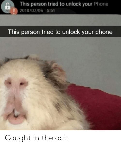 Phone, Act, and Person: This person tried to unlock your Phone  |2018/02/06 5:51  This person tried to unlock your phone Caught in the act.