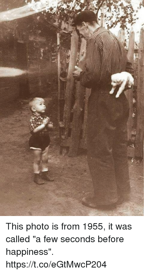 """Memes, Happiness, and 🤖: This photo is from 1955, it was called """"a few seconds before happiness"""". https://t.co/eGtMwcP204"""