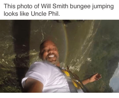 Dank, 🤖, and Photos: This photo of Will Smith bungee jumping  looks like Uncle Phil.