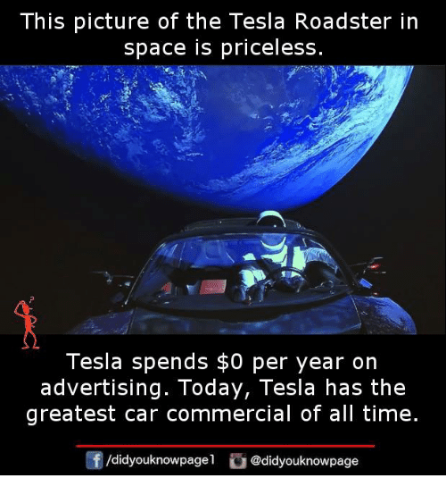this picture of the tesla roadster in space is priceless tesla spends 0 per year on advertising. Black Bedroom Furniture Sets. Home Design Ideas