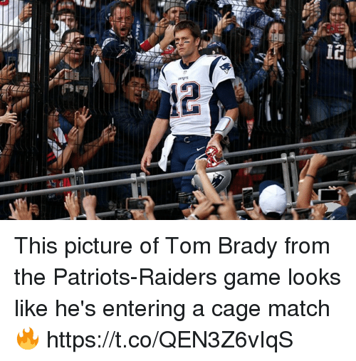 Football, Nfl, and Patriotic: This picture of Tom Brady from the Patriots-Raiders game looks like he's entering a cage match 🔥 https://t.co/QEN3Z6vIqS