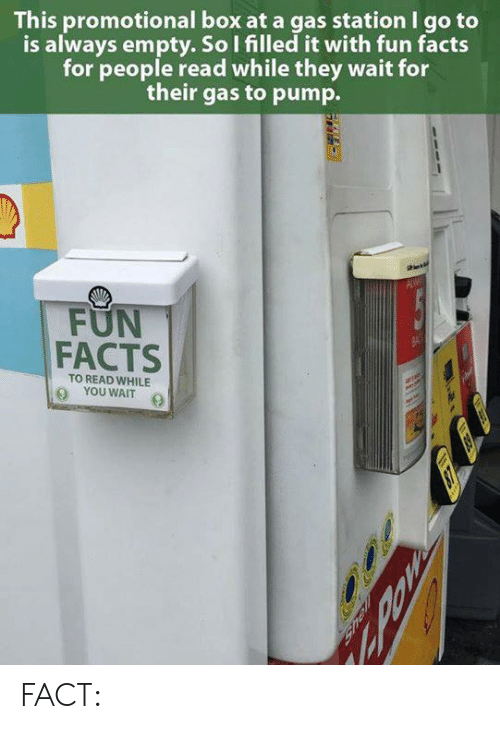 Facts, Memes, and Gas Station: This promotional box at a gas station I go to  is always empty. So I filled it with fun facts  for people read while they wait for  their gas to pump.  FUN  FACTS  TO READ WHILE  YOUWAIT FACT: