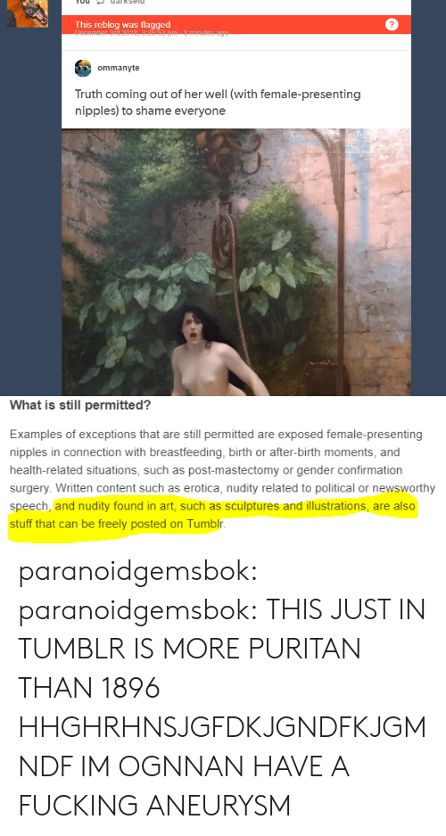 This Reblog Was Flagged Ommanyte Truth Coming Out of Her
