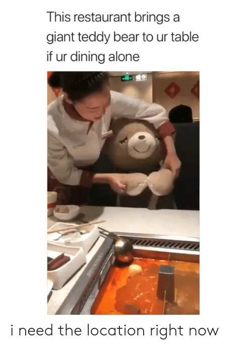 Being Alone, Bear, and Giant: This restaurant brings a  giant teddy bear to ur table  if ur dining alone i need the location right now