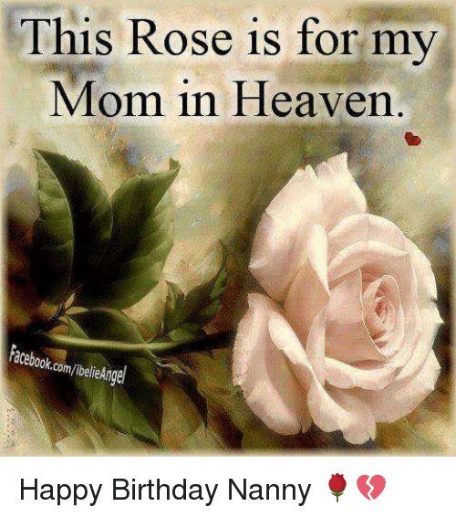 This Rose Is For My Mom In Heaven Acebookc Happy Birthday Nanny