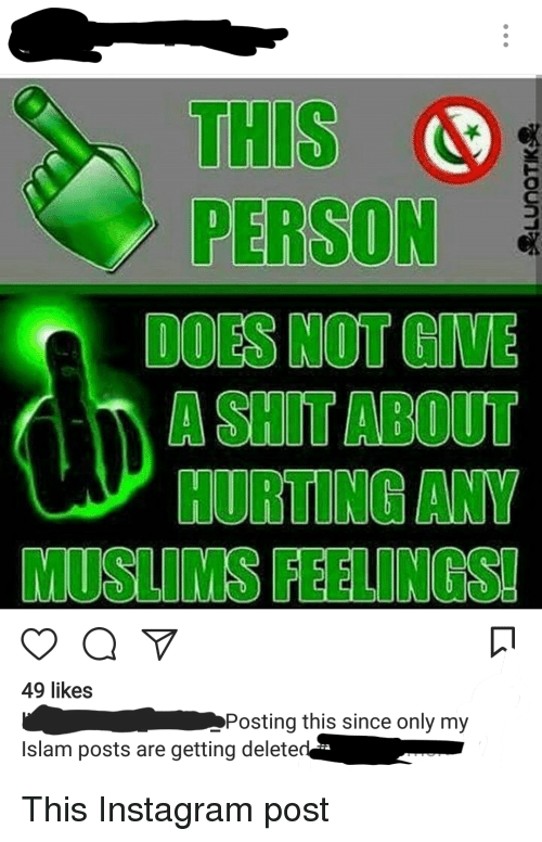 Instagram, Shit, and Islam: THIS S  PERSON  DOES NOT GIVE  A SHIT ABOUT  HURTING ANY  MUSLIMS FEELINGS  49 likes  Posting this since only my  Islam posts are getting delete  ;교