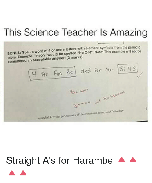 This Science Teacher Is Amazing Bonus Spell A Word Of 4 Or More