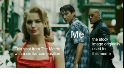 Meme, The Matrix, and Image: This shot from The Matrix  with a similar composition  the stock  image originally  used for  this meme