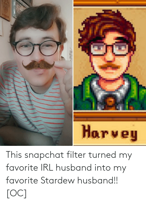 Snapchat, Husband, and Irl: This snapchat filter turned my favorite IRL husband into my favorite Stardew husband!! [OC]