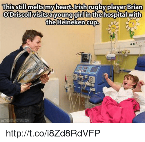 Irish, Memes, and 🤖: This still meltsmy heart.Irish rugby player Brian  O Driscoll visitsayoung girl in the hospital with  the Heineken Cup  ETAPICTURECOM http://t.co/i8Zd8RdVFP