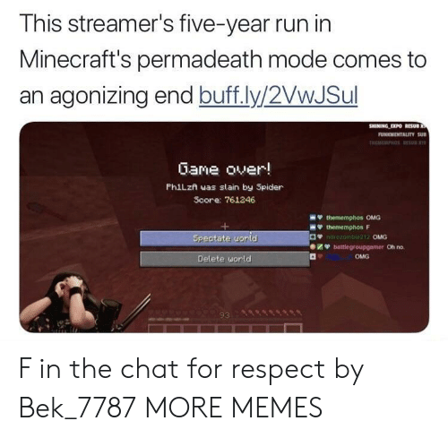 Dank, Memes, and Omg: This streamer's five-year run in  Minecraft's permadeath mode comes to  an agonizing end buff.ly/2VwJSul  Gane over!  PhiLzn was slain by Spider  Score: 761246  OMG  Oh no.  OMG  Delete uorld  93 F in the chat for respect by Bek_7787 MORE MEMES