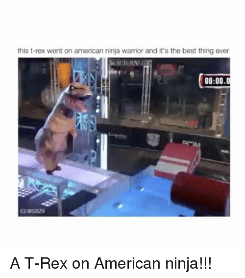 Memes, 🤖, and Warrior: this t-rex went on american ninja warrior and it's the best thing ever  00:00.0  IG:a5829 A T-Rex on American ninja!!!
