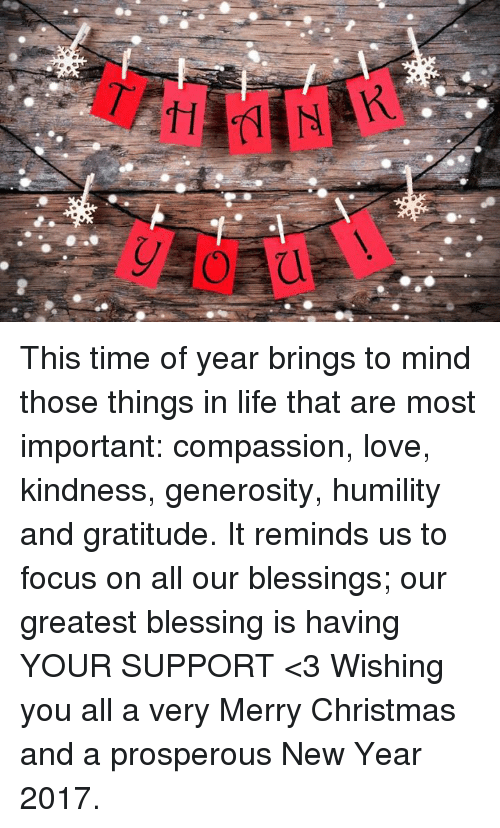 This Time of Year Brings to Mind Those Things in Life That Are Most ...