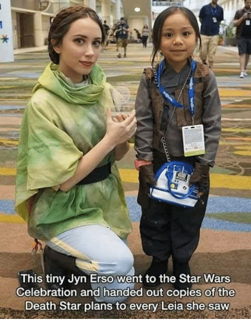 Death Star, Memes, and Saw: This tiny Jyn Erso went to the Star Wars  Celebration and handed out copies of the  Death Star plans to every Leia she saw