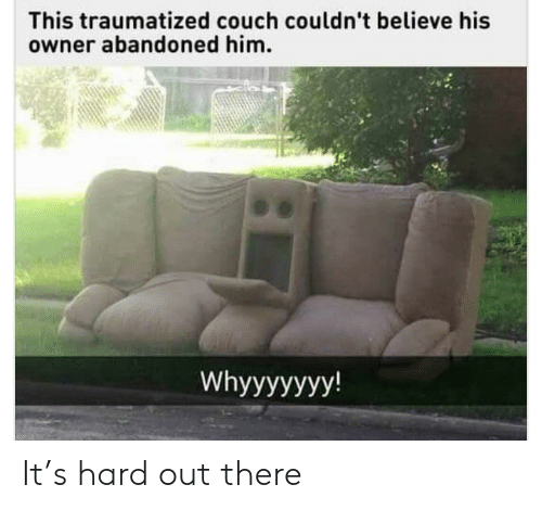 Couch, Him, and Believe: This traumatized couch couldn't believe his  owner abandoned him.  Whyyyyyyy! It's hard out there
