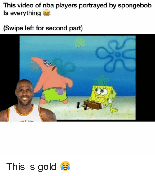 Funny, Nba, and SpongeBob: This video of nba players portrayed by spongebob  Is everything  (Swipe left for second part) This is gold 😂