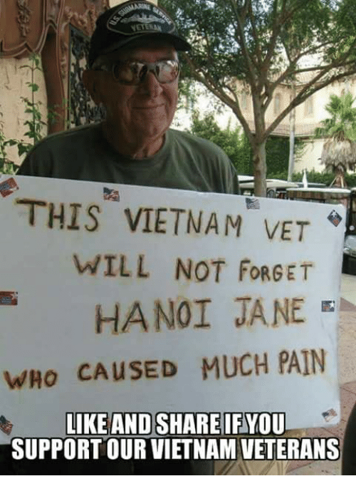 Memes, Vietnam, and Pain: THIS VIETNAM VET  WILL NOT FORGET  HANOI JANE  WHO CAUSED MUCH PAIN  IKE AND SHAREIFYOU  SUPPORT OUR VIETNAM VETERANS