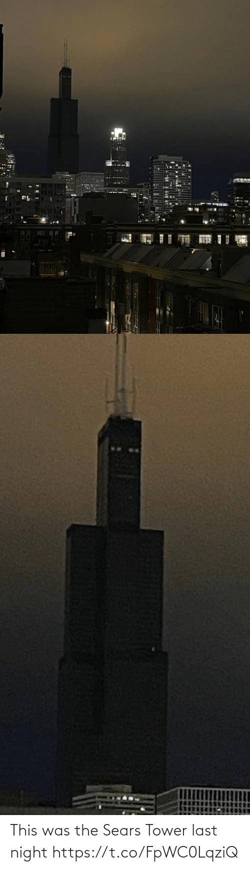 Sears, Faces-In-Things, and Sears Tower: This was the Sears Tower last night https://t.co/FpWC0LqziQ