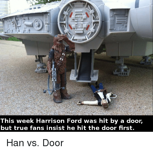 This Week Harrison Ford Was Hit by a Door but True Fans Insist He