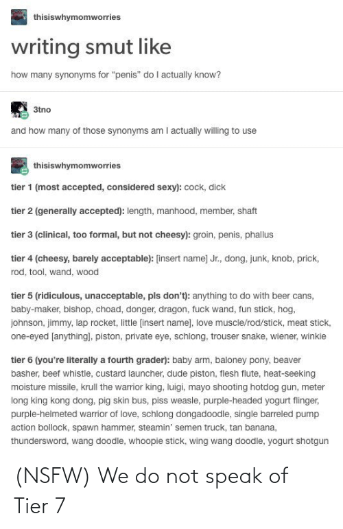 Thisiswhymomworries Writing Smut Like How Many Synonyms For Penis