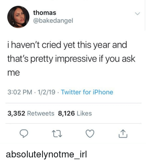 Thomas I Haven't Cried Yet This Year and That's Pretty