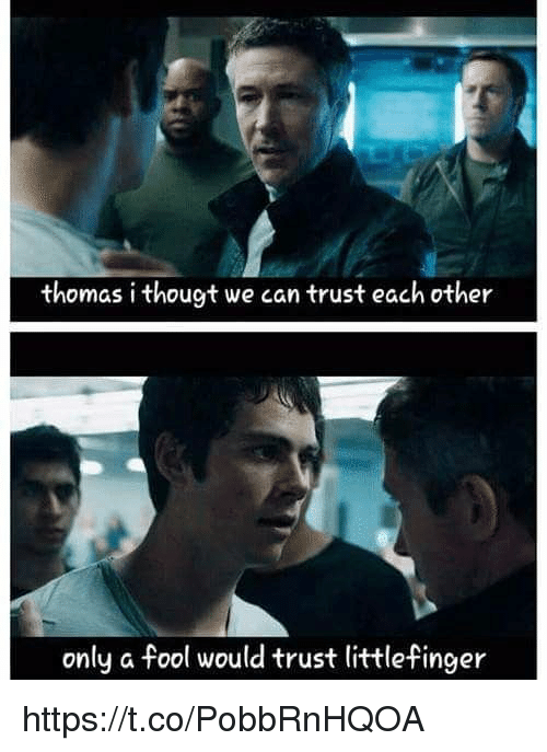 Memes, 🤖, and Thomas: thomas i thougt we can trust each other  only a fool would trust littlefinger https://t.co/PobbRnHQOA