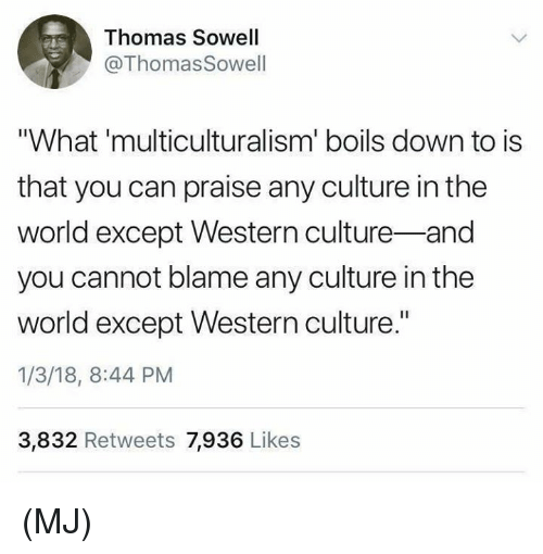 "Memes, World, and Western: Thomas Sowell  @Thomas Sowell  ""What 'multiculturalism' boils down to is  that you can praise any culture in the  world except Western culture-and  you cannot blame any culture in the  world except Western culture.""  1/3/18, 8:44 PM  3,832 Retweets 7,936 Likes (MJ)"