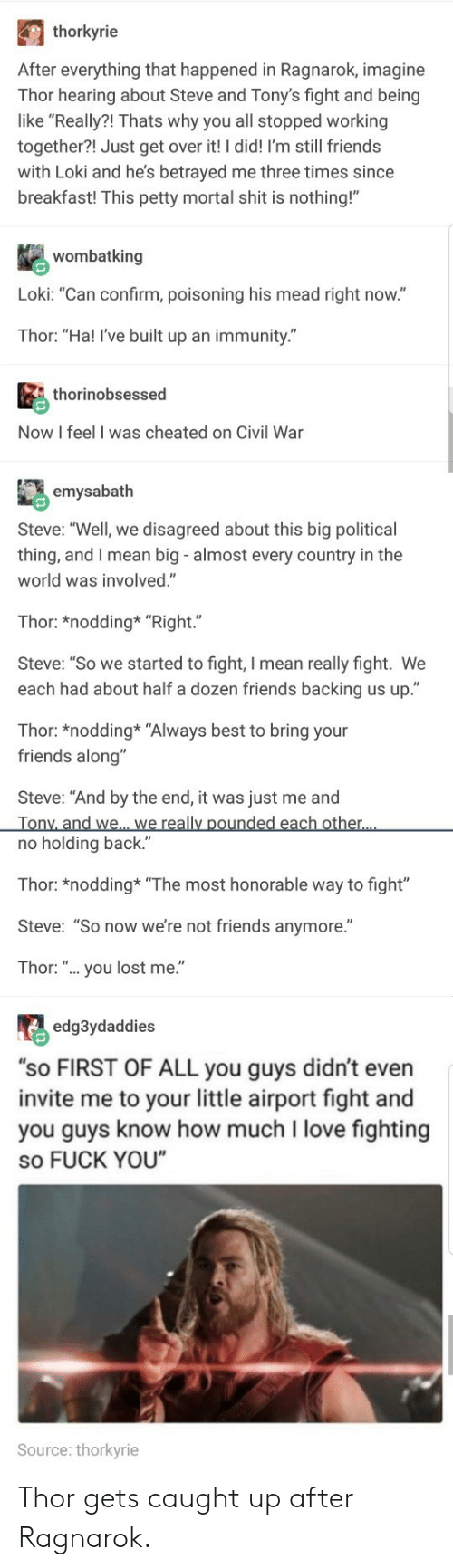 """Friends, Fuck You, and Love: thorkyrie  After everything that happened in Ragnarok, imagine  Thor hearing about Steve and Tony's fight and being  like """"Really?! Thats why you all stopped working  together?! Just get over it! I did! I'm still friends  with Loki and he's betrayed me three times since  breakfast! This petty mortal shit is nothing!""""  wombatking  Loki: """"Can confirm, poisoning his mead right now.""""  Thor: """"Ha! I've built up an immunity.""""  thorinobsessed  Now I feel I was cheated on Civil War  emysabath  Steve: """"Well, we disagreed about this big political  thing, and I mean big - almost every country in the  world was involved.""""  Thor: *nodding* """"Right.""""  Steve: """"So we started to fight, I mean really fight. We  each had about half a dozen friends backing us up.""""  Thor: *nodding* """"Always best to bring your  friends along""""  Steve: """"And by the end, it was just me and  no holding back.""""  Thor: *nodding """"The most honorable way to fight""""  Steve: """"So now we're not friends anymore.""""  Thor: """".. you lost me.""""  edg3ydaddies  """"sO FIRST OF ALL you guys didn't even  invite me to your little airport fight and  you guys know how much I love fighting  so FUCK YOU  Source: thorkyrie Thor gets caught up after Ragnarok."""