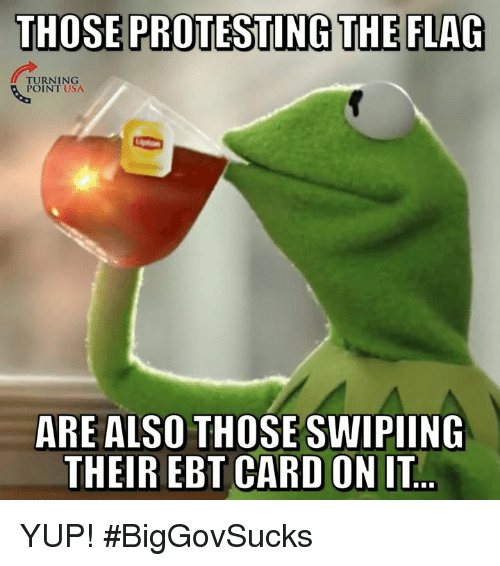 Memes, 🤖, and Usa: THOSE PROTESTING THE FLAG  TURNING  POINT USA  ARE ALSO THOSE SWIPIING  THEIR EBT CARD ON IT YUP! #BigGovSucks