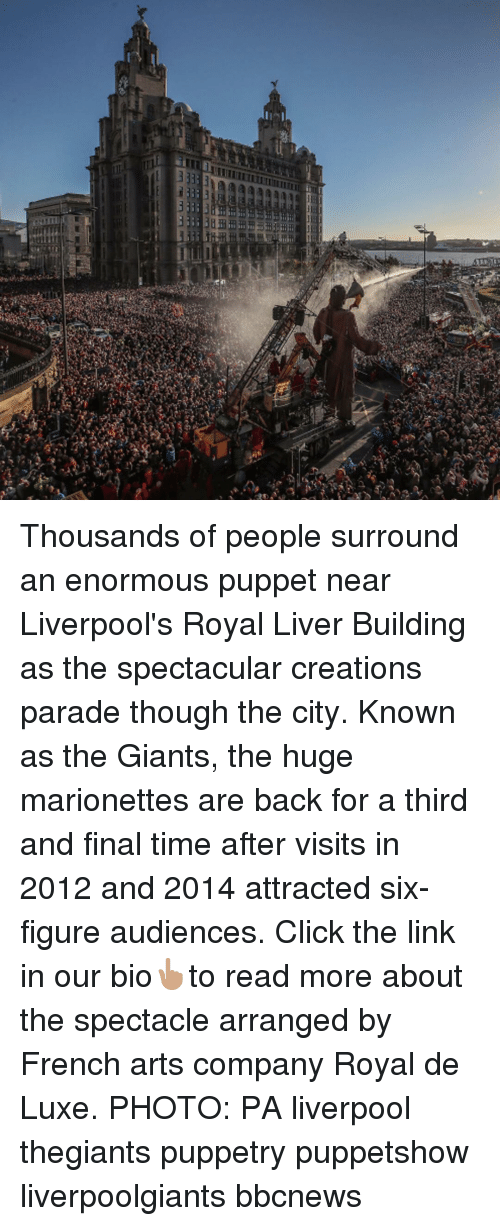 Click, Memes, and Liverpool F.C.: Thousands of people surround an enormous puppet near Liverpool's Royal Liver Building as the spectacular creations parade though the city. Known as the Giants, the huge marionettes are back for a third and final time after visits in 2012 and 2014 attracted six-figure audiences. Click the link in our bio👆🏽to read more about the spectacle arranged by French arts company Royal de Luxe. PHOTO: PA liverpool thegiants puppetry puppetshow liverpoolgiants bbcnews
