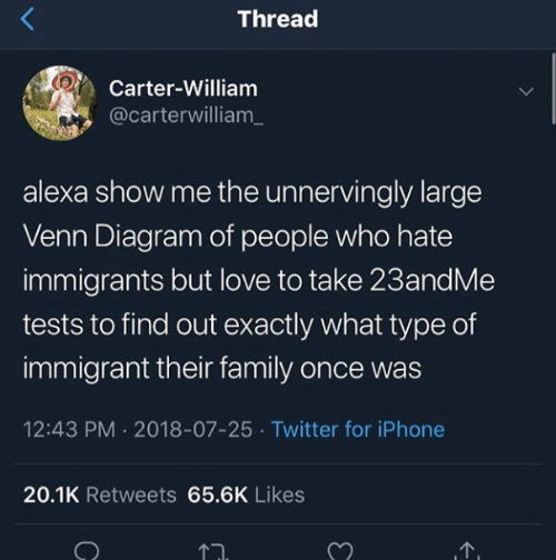 Family, Iphone, and Love: Thread  Carter-William  @carterwilliam_  alexa show me the unnervingly large  Venn Diagram of people who hate  immigrants but love to take 23andMe  tests to find out exactly what type of  immigrant their family once was  12:43 PM 2018-07-25 Twitter for iPhone  20.1K Retweets 65.6K Likes  1.