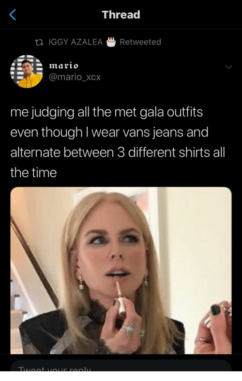 Iggy Azalea, Mario, and Vans: Thread  IGGY AZALEA Retweeted  @mario_XCX  me judging all the met gala outfits  even though I wear vans jeans and  alternate between 3 different shirts all  the time  酓