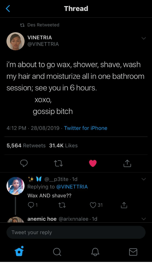 Hoe, Iphone, and Shower: Thread  ti Des Retweeted  VINETRIA  @VINETTRIA  i'm about to go wax, shower, shave, wash  my hair and moisturize all in one bathroom  session; see you in 6 hours.  Хохо,  gossip bitch  4:12 PM 28/08/2019 Twitter for iPhone  .  5,564 Retweets 31.4K Likes  @_p3tite 1d  Replying to @VINETTRIA  Wax AND shave??  31  anemic hoe @arixnnalee 1d  Tweet your reply