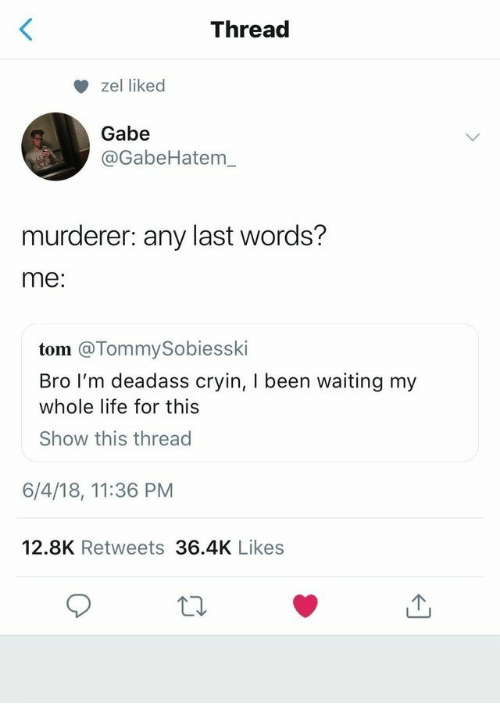 Life, Deadass, and Last Words: Thread  zel liked  Gabe  @GabeHatem_  murderer: any last words?  me:  tom @TommySobiesski  Bro I'm deadass cryin, I been waiting my  whole life for this  Show this thread  6/4/18, 11:36 PM  12.8K Retweets 36.4K Likes
