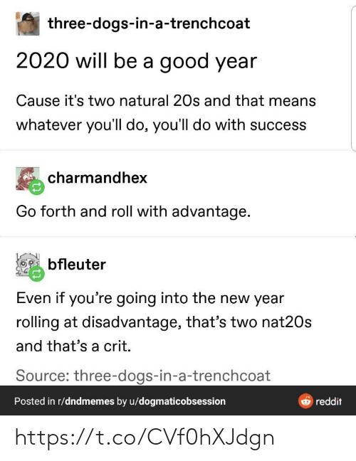 Dogs, Memes, and New Year's: three-dogs-in-a-trenchcoat  2020 will be a good year  Cause it's two natural 20s and that means  whatever you'll do, you'll do with success  charmandhex  Go forth and roll with advantage.  bfleuter  Even if you're going into the new year  rolling at disadvantage, that's two nat20s  and that's a crit.  Source: three-dogs-in-a-trenchcoat  Posted in r/dndmemes by u/dogmaticobsession  reddit https://t.co/CVf0hXJdgn