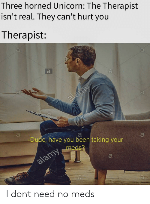 Dude, Unicorn, and Been: Three horned Unicorn: The Therapist  isn't real. They can'thurt you  Therapist:  al  Dude, have you been taking your  meds I dont need no meds