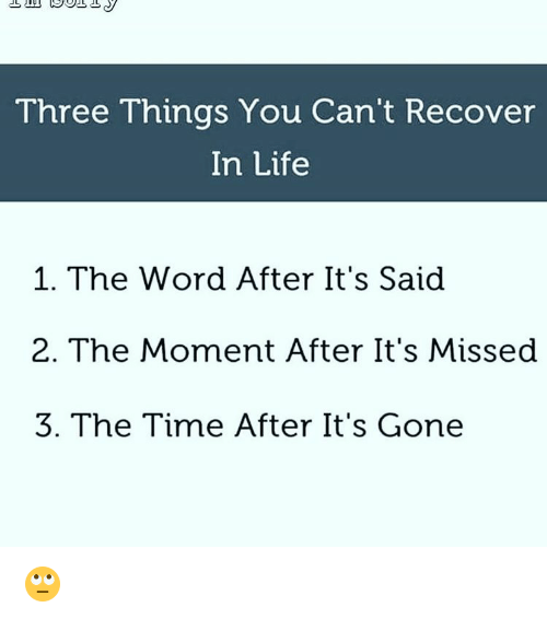 Life, Memes, and Time: Three Things You Can't Recover  In Life  1. The Word After It's Said  2. The Moment After It's Missed  3. The Time After It's Gone 🙄
