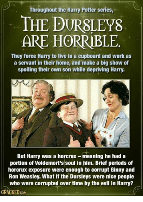 Harry Potter, Memes, and Work: Throughout the Harry Potter series,  THE DURSLEYS  ARE HORRIBLE  They force Harry to live in a cupboard and work as  a servant in their home, and make a big show of  spoiling their own son while depriving Harry  But Harry was a horcrux-meaning he had a  portion of Voldemort's soul in him. Brief periods of  horcrux exposure were enough to corrupt Ginny and  Ron Weasley. What if the Dursleys were nice people  who were corrupted over time by the evil in Harry?  GRACKEDcoN