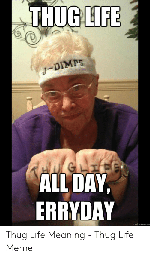 THUGLIFE ALL DAY ERRYDAY Quickmemecom Thug Life Meaning - Thug Life