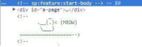 """Theres meowing duck in Amazon source code: <!-  sp : feature: start-body  -->  <div id-""""a-page""""/div  KI--  . (MEO) Theres meowing duck in Amazon source code"""