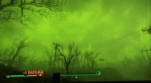 Fallout 4, Sorry, and The Game: <1 RADS  HP Sorry for interrupting your scrolling but can someone please tell me what's going on here. I just came from the underground and the sky was green! The game is Fallout 4 by the way.
