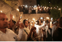 "Easter, Fire, and Tumblr: <p><a class=""tumblr_blog"" href=""http://globalchristendom.tumblr.com/post/143690499801"">globalchristendom</a>:</p> <blockquote> <p>Ethiopian pilgrims at a Holy Fire ceremony before Orthodox Easter at Deir al-Sultan Monastery in Jerusalem, Israel. (Credit: AFP)</p> </blockquote>"