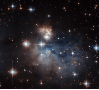 "Nasa, Tumblr, and Blog: <p><a class=""tumblr_blog"" href=""http://pictures-of-space.tumblr.com/post/146581289893"">pictures-of-space</a>:</p> <blockquote> <h2>  Hubble and a Stellar Fingerprint</h2> <p>Showcased at the center of this NASA/ESA Hubble Space Telescope image is an emission-line star known as IRAS 12196-6300.</p> <p>Located just under 2,300 light-years from Earth, this star displays prominent emission lines, meaning that the star's light, dispersed into a spectrum, shows up as a rainbow of colors marked with a characteristic pattern of dark and bright lines. The characteristics of these lines, when compared to the ""fingerprints"" left by particular atoms and molecules, can be used to reveal IRAS 12196-6300's chemical composition.</p> <p>Image credit: ESA/Hubble &amp; NASA, Acknowledgement: Judy Schmidt</p> </blockquote>"