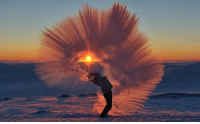 Air, Tea, and Thermos: <p>A thermos of hot tea hurled into the air at -40 degrees Celsius near the Arctic Circle.</p>
