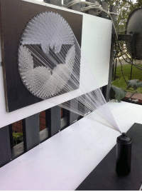 Art, Bat, and String: <p>Bat Signal String Art.</p>