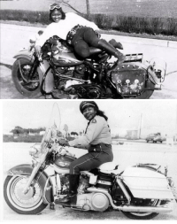 "<p>Bessie Stringfield biked across the United States in the 1930s, a rare feat for an African American woman at the time. Later she became an asset to the United States government as a civilian motorcycle dispatcher—the only woman in her unit. With a military crest attached to her blue Harley-Davidson Knucklehead, she carried documents between domestic US bases.</p>  <p>Later, in the 1950s, Stringfield settled in Miami, bought a house, and became a nurse. In her early days in Florida, she clashed with the local police when she tried to obtain her motorcycle license and was rebuffed. Determined, Stringfield demanded a meeting with their captain, a white motorcycle cop in the Black precinct. He took her to a nearby park and ordered her to perform several difficult motorcycle tricks. She nailed all of them and he relented, granting her a license.</p>  <p>Stringfield continued biking until her death when she was in her 80s.</p>  Source: <a href=""https://broadly.vice.com/en_us/article/qvxke7/bessie-stringfield-first-black-woman-motorcycled-across-america-jim-crow"">https://broadly.vice.com/en_us/article/qvxke7/bessie-stringfield-first-black-woman-motorcycled-across-america-jim-crow</a>: <p>Bessie Stringfield biked across the United States in the 1930s, a rare feat for an African American woman at the time. Later she became an asset to the United States government as a civilian motorcycle dispatcher—the only woman in her unit. With a military crest attached to her blue Harley-Davidson Knucklehead, she carried documents between domestic US bases.</p>  <p>Later, in the 1950s, Stringfield settled in Miami, bought a house, and became a nurse. In her early days in Florida, she clashed with the local police when she tried to obtain her motorcycle license and was rebuffed. Determined, Stringfield demanded a meeting with their captain, a white motorcycle cop in the Black precinct. He took her to a nearby park and ordered her to perform several difficult motorcycle tricks. She nailed all of them and he relented, granting her a license.</p>  <p>Stringfield continued biking until her death when she was in her 80s.</p>  Source: <a href=""https://broadly.vice.com/en_us/article/qvxke7/bessie-stringfield-first-black-woman-motorcycled-across-america-jim-crow"">https://broadly.vice.com/en_us/article/qvxke7/bessie-stringfield-first-black-woman-motorcycled-across-america-jim-crow</a>"