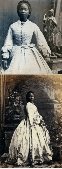 """Black History Month, England, and Life: <p>Black history month day 15: British noblewoman and the goddaughter of Queen Victoria, Sara Forbes Bonetta.</p>  <br/><p>Lady Sarah Forbes Bonetta Davies (photographed-Camille Silvy,1862) born into a royal West African dynasty, and orphaned in 1848 at five years old when her parents were killed in a slave-hunting war. In 1850, Sarah was was rescued from becoming a human sacrifice by Captain Frederick E. Forbes and taken to England as a """"gift"""" from the African King of Dahomey to Queen Victoria. She became the Queen's Goddaughter and a celebrity known for her extraordinary intelligence. She spent much of her life between the British royal household until her death from tuberculosis in 1880.</p>"""