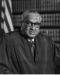 Black History Month, Lawyer, and Protest: <p>Black history month day 20: First black SCOTUS justice Thurgood Marshall.</p>  <p>Thurgood Marshall was born in Baltimore, Maryland on July 2, 1908. Originally his name was Thoroughgood, but he shortened it to Thurgood in second grade because he disliked spelling it. His father worked as a railroad porter and his mother as a teacher; together they instilled in him an appreciation for the United States Constitution and the rule of law.</p>  <p>Marshall attended Lincoln University and his classmates included Langston Hughes and Cab Calloway. At first, he did not take his studies particularly seriously, getting into some trouble. But later he became the star of the debate team and that was the beginning of his political activism. In his second year of school he participated in a sit in protest against segregation at a local movie theater.</p>  <p>Before becoming a judge, Marshall was a lawyer who was best known for his high success rate in arguing before the Supreme Court and for the victory in Brown v. Board of Education, a 1954 decision that ruled that segregated public schools were unconstitutional. He was later appointed to the United States Court of Appeals for the Second Circuit by President John F. Kennedy. In 1967 President Lyndon B. Johnson appointed Marshall to the Supreme Court.</p>
